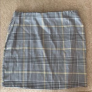 Black and Yellow Plaid Mini Skirt